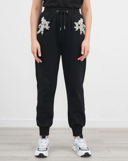 Black Embellished Flower Jogger