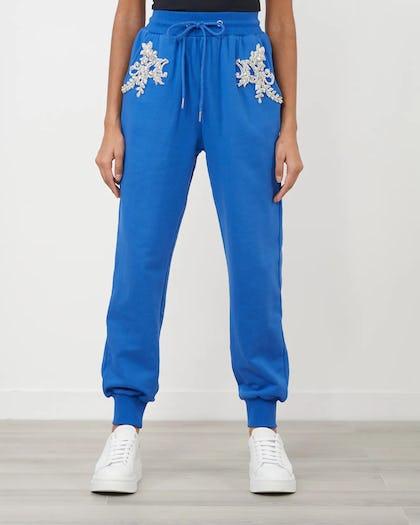 Cobalt Blue Embellished Flower Jogger