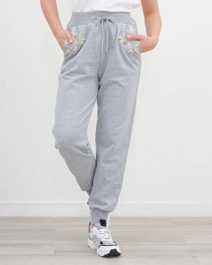 Grey Jewelled Flower Jogging Bottoms