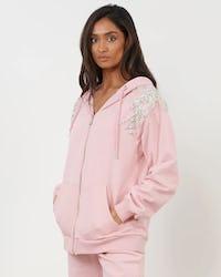 Pink Embellished Flower Zip Through Hoodie