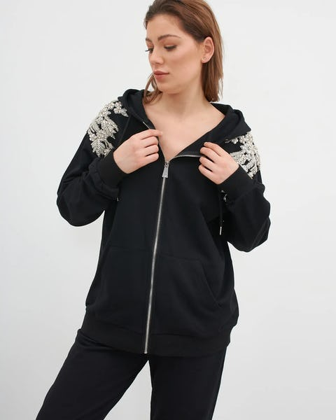 Pink Embellished Flower Zip Through Hoodie
