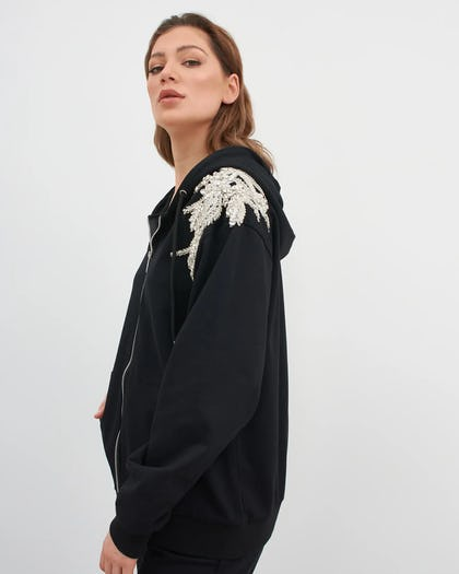 Black Jewelled Flower Hoodie