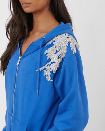Colbalt Blue Embellished Flower Zip Through Hoodie