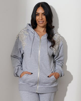 Grey Jewelled Flower Hoodie