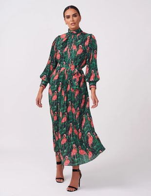 Flamingo Print Pleated Maxi Dress