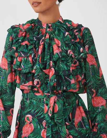 Flamingo Print Ruffle Blouse
