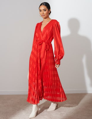 Scarlet Red Tie Midi Dress