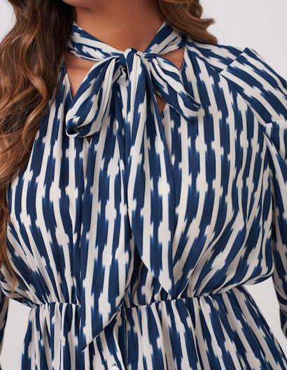 Navy & White Tie Neck Print Blouse