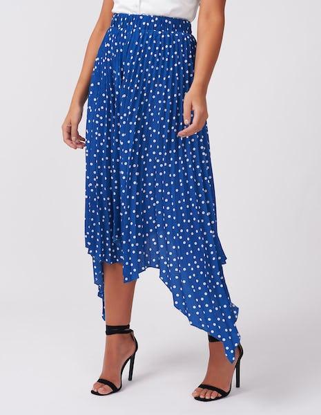 Blue Polka Dot Plisse Midi Skirt