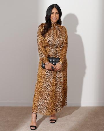 Leopard Print Pleated Maxi Dress