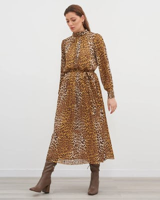 Leopard Print Pleated Maxi Dress