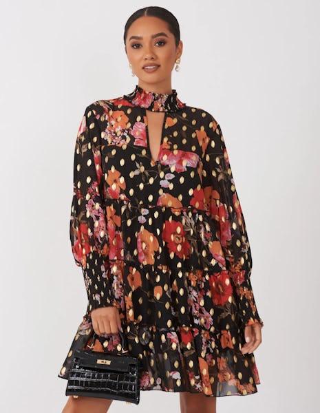 Black Floral Print Mini Dress with Gold Foil Spots