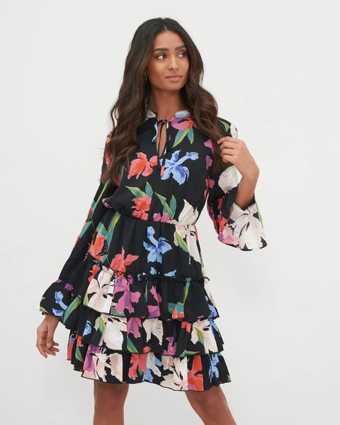 Black Floral Ruffle Hem Mini Dress