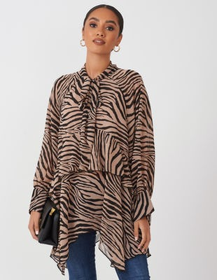 Brown Tiger Print Drape Blouse