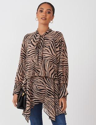 Brown Tiger Print Drape Blouse