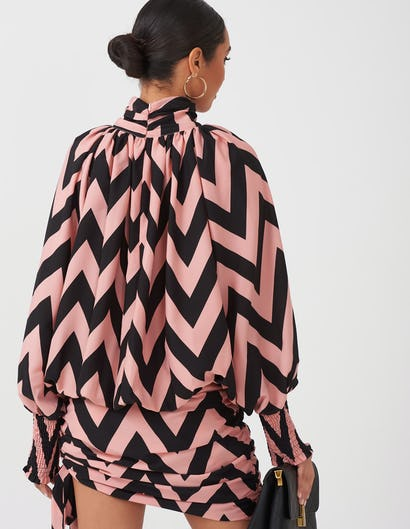 Pink & Black Zig Zag Print Dress