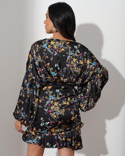 Multi Floral Drape Mini Dress