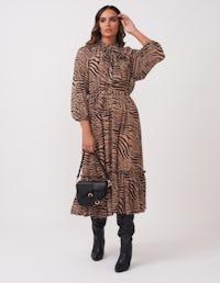 Brown Zebra Print Midi Dress