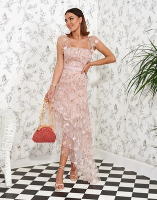 Pink Floral Mesh Asymmetric Midi Dress