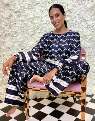Black and White Multi-Pattern Wide Leg Trousers