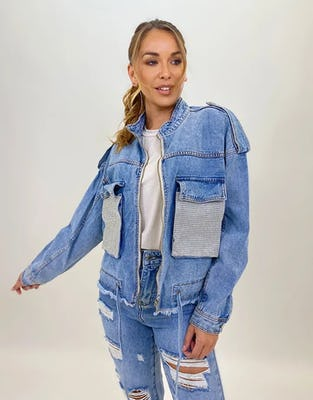 Diamante Pocket Denim Jacket