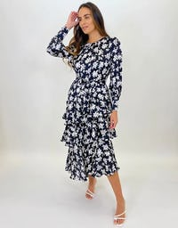 Black and White Floral Three Tier Maxi Dress