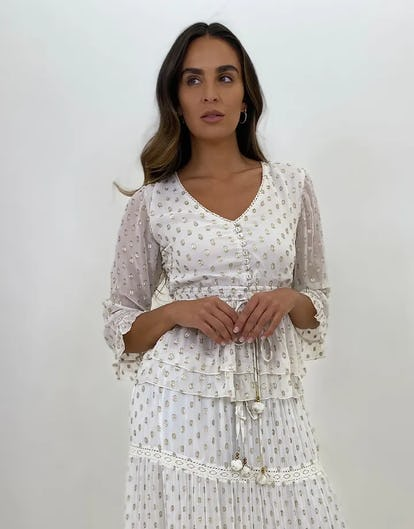 Ivory Open Back Blouse with Gold Foil Spots