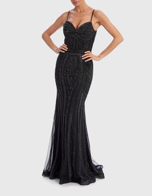 FARAH - Black Embellished Evening Gown