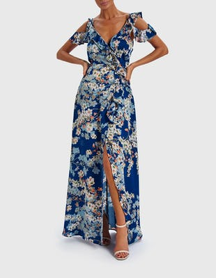 RITA - Blue Floral Print Cold-Shoulder Maxi Dress