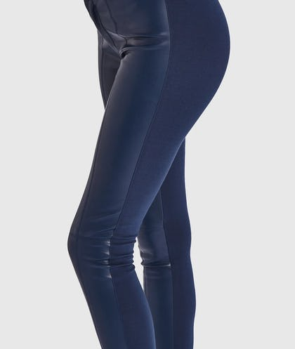 Navy Faux Leather Contrast Stretch Jeggings