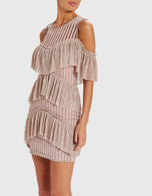 MINDY - Pink Cold-Shoulder Metallic Ruffle Mini Dress