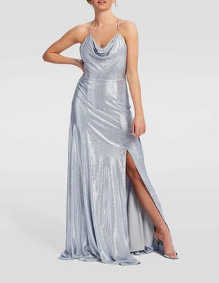 Metallic Silver Cowl Neck Maxi Evening Gown