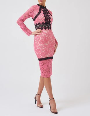 Pink and Black Contrast Lace Long-Sleeved Midi Dress