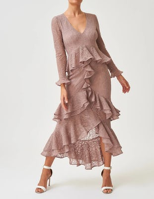 Pink Long-Sleeved Lace Ruffle Midi Dress