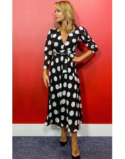Black and White Polka Dot Midi Dress