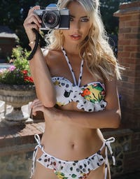 Premium Spotted Floral Print Bikini with Ruffle Detailing