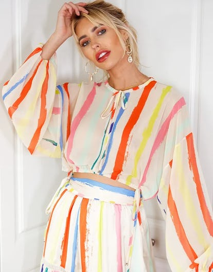 Multi Stripe Rainbow Top