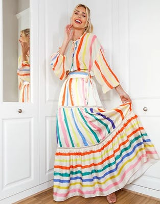 Multi Stripe Rainbow Maxi Skirt