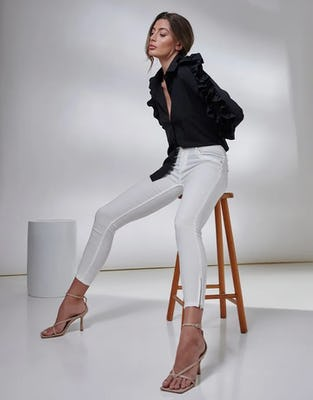 Ivory Denim Fitted Stretch Skinny Jeans