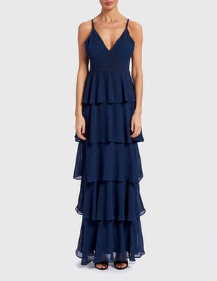 Navy Blue Frilled Layered Maxi Dress