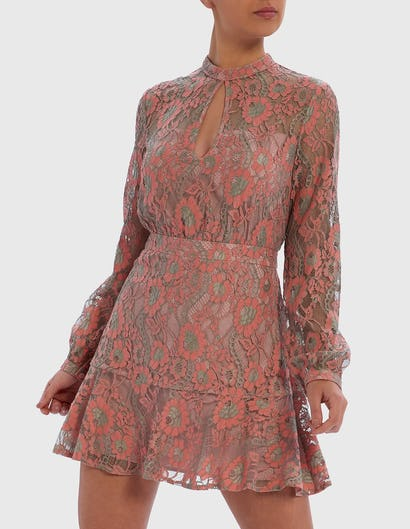 Pink and Green Lace Long-Sleeved Mini Dress