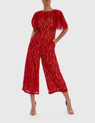 Red Lace Cape Sleeve Jumpsuit