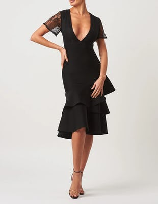 Black Asymmetric Ruffle Hem Short Sleeve Bandage Midi Dress
