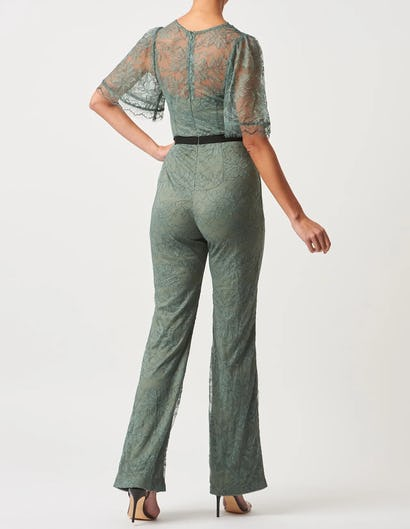 Sage Green Floral Lace Short Sleeve Jumpsuit