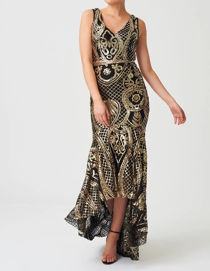 Black and Gold Sequin Patterned Maxi Dress