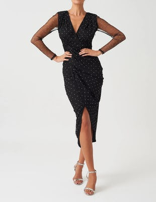 Black Embellished Long Sleeve Plunging Midi Dress