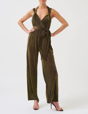 Khaki Sparkly Cross-Over Wide Leg Jumpsuit