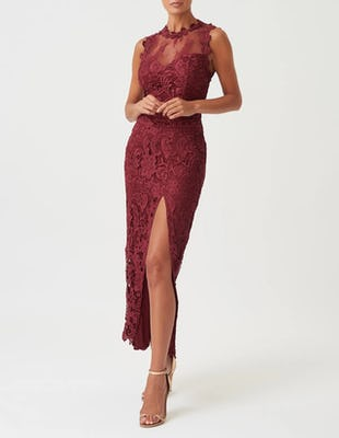 Red Lace High Neck Mesh Maxi Dress with Thigh Split