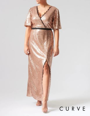 Curve - Rose Gold Sequin Short Sleeve Maxi Dress