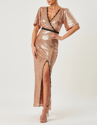 Rose Gold Sequin Short Sleeve Maxi Dress
